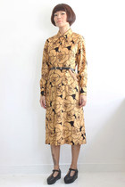 Vintage Abstract Rose Pattern L/S Dress (Belt Not Included)