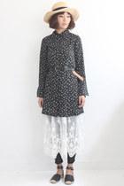 Vintage Cherry Pattern L/S Chiffon Shirt Dress (Belt Not Included)