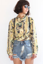 Vintage Pleated Stand Collar Abstract Floral & Leaf Pattern L/S Blouse