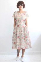 Vintage Floral Pattern Cap Sleeves Dress