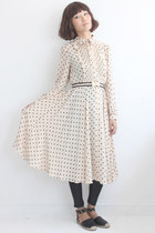 Vintage Polka Dots Long Sleeves Chiffon Dress (Belt Included)
