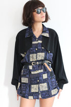 Vintage Abstract Pattern Mixed Panel L/S Shirt
