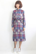 Vintage Checks Pattern Chiffon Dress (Belt Not Included)