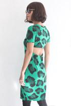 R/N Leopard Print Open Back S/S Dress