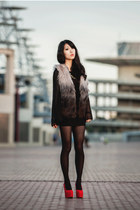 silver ombre fur cotton on vest - red wedges taobaocom shoes