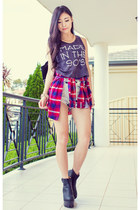 heather gray made in the 90s Lex Mila top - red plaid Light in the box shirt