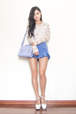 blue flutter Steal her look shorts - periwinkle satchel asos bag
