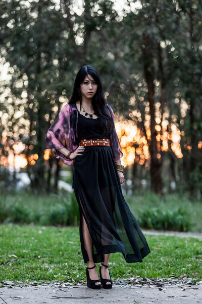 black Glassons top - black sheer maxi Sheinside skirt - black Taobao necklace
