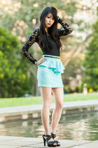 mint peplum Rosy Ruby skirt - lace Urban Outfitters bodysuit