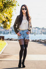 Green-tweed-zipianet-jacket-sky-blue-distressed-total-recall-vintage-shorts