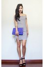 White-striped-showpo-dress-blue-clutch-oasap-bag-brown-oasap-sunglasses