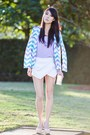 Sky-blue-sabo-skirt-blazer-white-skort-sheinside-shorts