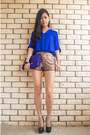 Blue-oasap-bag-bronze-sequin-mika-and-gala-shorts-blue-oasap-blouse