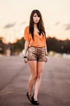orange Chicwish blouse - sequin mika and gala shorts