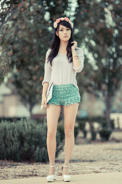 aquamarine crochet Chicwish shorts