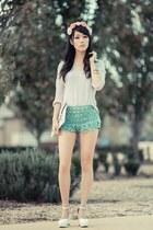 aquamarine crochet Chicwish shorts