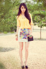 White-choies-skirt-yellow-chaceylove-blouse