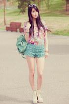 aquamarine mint green Chicwish bag - aquamarine mint crochet Chicwish shorts