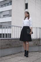 black OASAP bag - white Zara shirt - black no name socks - black asos wedges