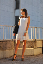 white Promod dress - black no name bag - black Zara wedges
