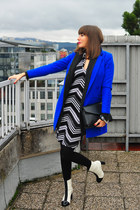 black H&M leggings - white asos boots - white no name dress - blue asos coat