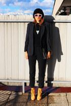 black asos hat - camel asos boots - navy vintage blazer - black OASAP bag