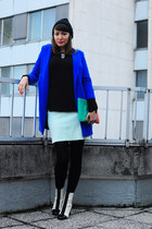 blue asos coat - white asos boots - black no name hat - black H&M sweater