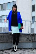 blue asos coat - white asos boots - black no name hat - black H&M sweater