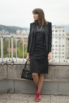 black French Connection dress - black Zara blazer - black Debenhams bag