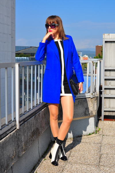 black Dorothy Perkins dress - white asos boots - blue asos coat