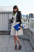 off white Zara dress - black H&M jacket - blue asos bag