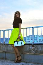 yellow COS skirt - white vintage bag - black Zara top - black Zara wedges