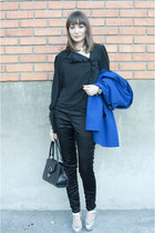 black Debenhams bag - blue asos coat - black vintage blouse - black H&M pants