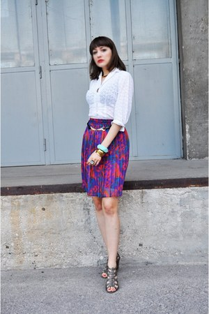 vintage shirt - asos belt - vintage skirt - Funky Shoes sandals