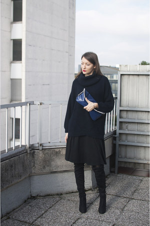 black asos boots - navy Wallis sweater - blue IKEA bag - black new look skirt