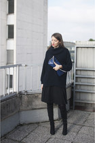 black asos boots - navy Wallis sweater - blue IKEA bag - black new look skirt