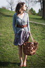 Silver-gap-dress-blue-zara-cardigan-brown-chocolate-belt-brown-purse-bro