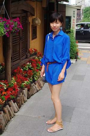 blue shirt dress Zara shirt