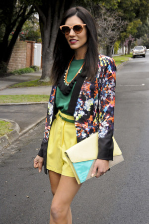 black floral KALEIDESCOPE blazer - yellow high waisted Paint it Red shorts