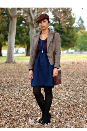 Forever 21 blazer - Urban Renewal dress - thrifted bag - H&M cardigan