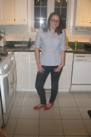 red Kimchi Blue flats - navy Forever 21 jeans - light blue Apt 9 shirt