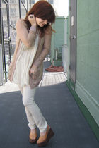 vintage shoes - Kimberly Ovitz pants - EDUN top - Rodarte for Target cardigan
