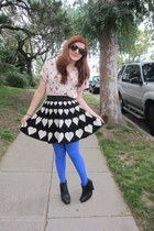 sam edelman boots - Retro Superfuture sunglasses - modcloth top - asos skirt