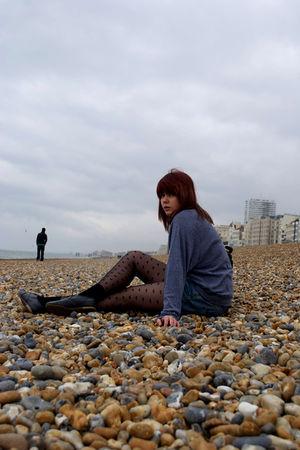 gray American Apparel sweater - blue Primark shorts - black Dorothy Perkins tigh
