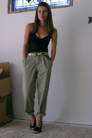 Anthropologie top - Thrifed boys pants - Gap belt - Maxstudio shoes