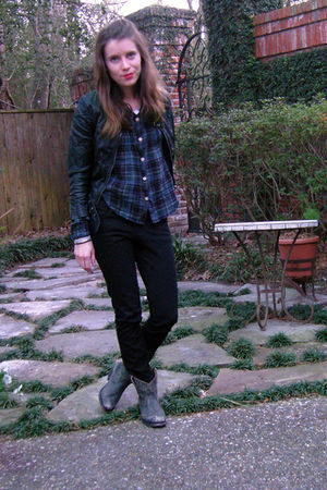 black H&amp;M jacket - blue Anthropologie blouse - black unknown jeans - black Aldo 