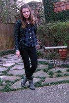 black H&M jacket - blue Anthropologie blouse - black unknown jeans - black Aldo