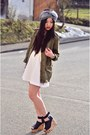 White-skater-dress-h-m-dress-olive-green-parka-zara-jacket