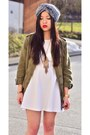 White-skater-dress-h-m-dress-olive-green-parka-zara-jacket