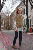 navy BDG jeans - white H&M blouse - olive green H&M vest - brown 8020 shoes wedg